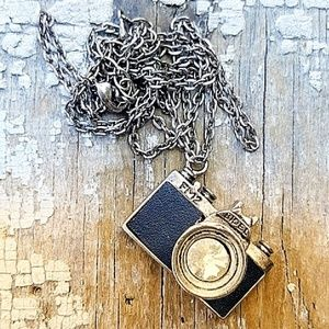 """Bidel Jewelry - Antique Camera Crystal Pewter Necklace 30"""""""